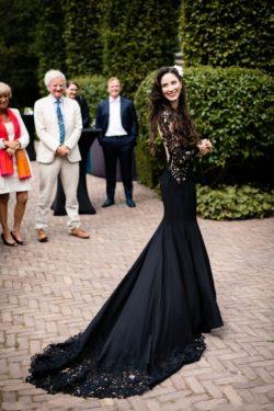 Schwarze Brautkleider mit Ärmel | Meerjungfrau Hochzeitskleider mit Spitze
