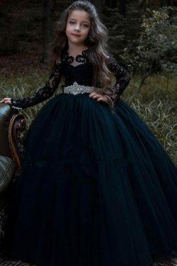 Schöne Blumenmädchenkleider Schwarz | Prinzessin Kinder Hochzeitskleid
