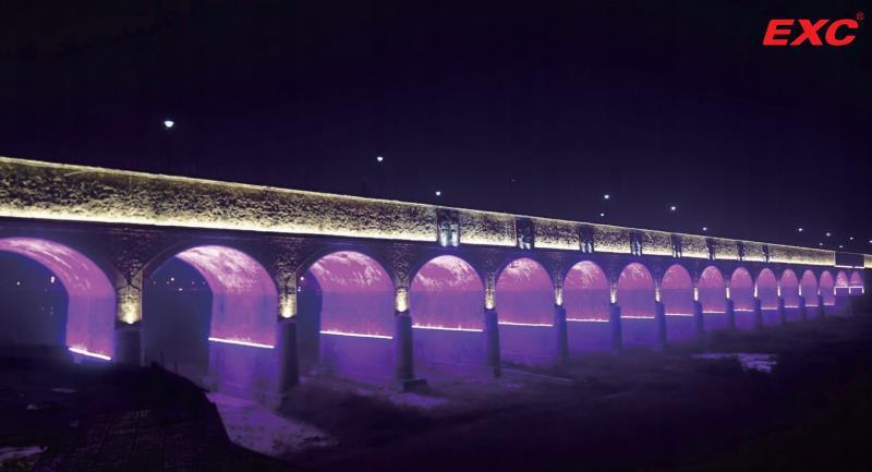 LED Landscape Lighting 18-opening Bridge, Jinling River, Baoji