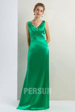 Robe de soirée longue simple vert émeraude en satin