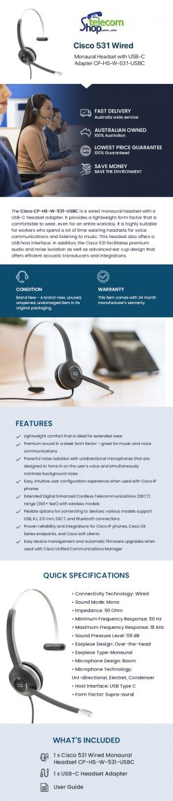 Shop Cisco CP-HS-W-531-USBC Wired Monaural Headset with USB-C Adapter CP-HS-W-531-USBC from The  ...