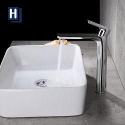 Homelody Hohe Wasserhahn Bad Einhebel Mischbatterie Waschbeckenarmatur für Badzimmer