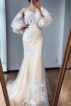 Abendkleid Lang mit Ärmel | Wunderschöne Abendkleider Mit Spitze