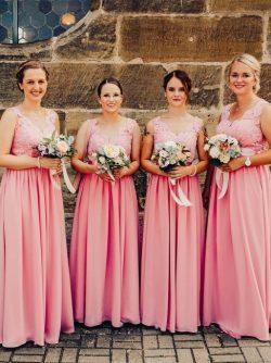 Brautjungfernkleider Rosa Lang | Brautjungfernkleider Altrosa Spitze