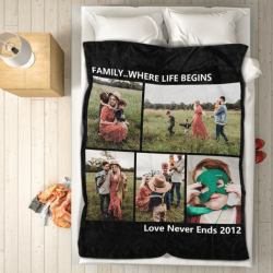 Personalized Photo Blankets for Lover with 5 Photos
