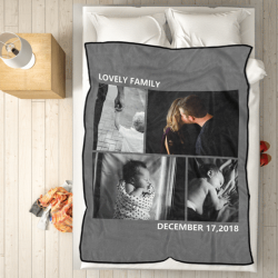 Custom Fleece Photo Blanket with 4 Photos