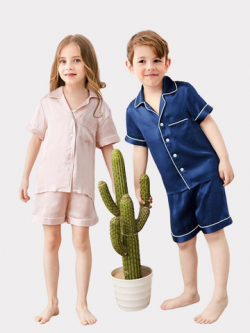 Classic Short Silk Pajamas Set For Kids