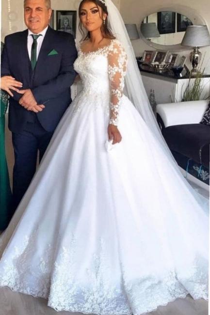 Elegante Brautkleider A Linie | Hochzeitskleider mit Spitze Ärmel