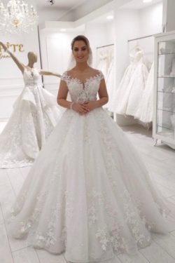Hochzeitskleid Prinzessin Glitzer | Brautkleid Spitze A Linie