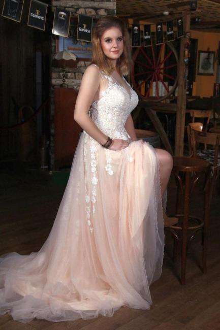 Moderne Brautkleider V Ausschnitt   Boho Hochzeitskleider mit Spitze