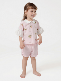 55% Mulberry Silk Short Sleeves Lovely Printed Silk Top For Kids