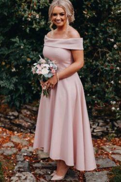 Brautjungfer Kleid Altrosa Lang   Kurzes Brautjungfernkleid