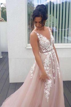 Abendkleider Lang V Ausschnitt | Boho Kleid Mit Spitze