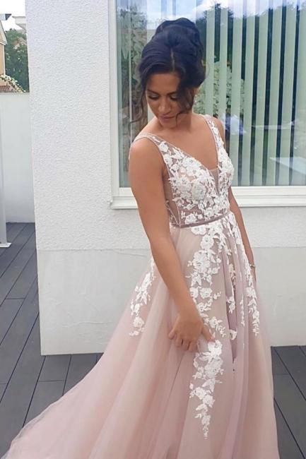 Abendkleider Lang V Ausschnitt   Boho Kleid Mit Spitze
