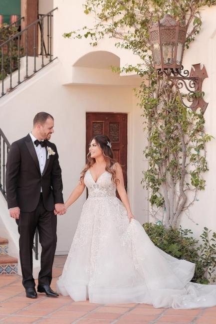 Moderne Brautkleider V Ausschnitt | Hochzeitskleider A Linie mit Spitze