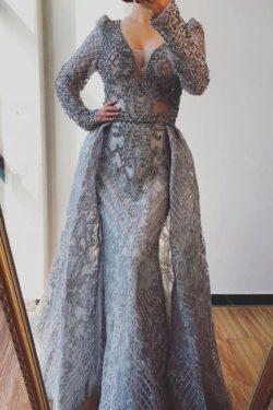 Abendkleider Lang mit Ärmel | Extravagante Abendgarderobe Damen