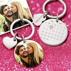 Custom Photo Keychain Personalized Engraved Calendar Keychain