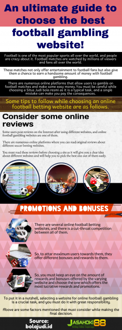 Trusted website for Internet soccer gambling