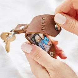 Custom Engraved Photo Keychain Gift With Leather Case