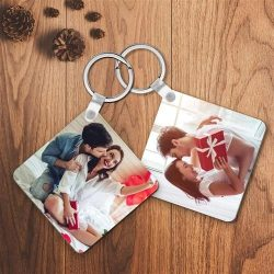 Personalized Keychain Custom Photo Square Keychain For Couple