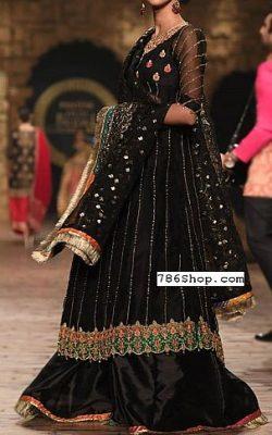 Black Crinkle Chiffon Suit – Pakistani Wedding Dresses