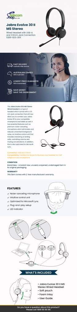 Buy Jabra Evolve 30 II MS Stereo Wired Headset from The Telecom Shop PTY Ltd