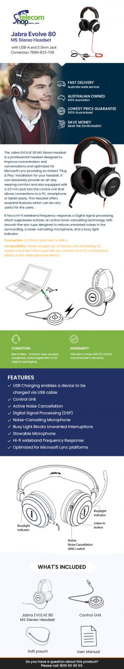 Buy Jabra Evolve 80 MS Stereo Headset with USB-A and 3.5mm Jack Connection from The Telecom Shop ...