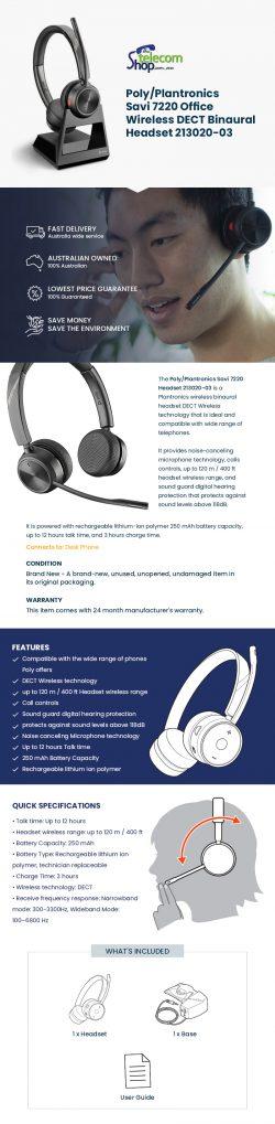 Buy Poly/Plantronics Savi 7220 Headset 213020-03 from The Telecom Shop PTY Ltd