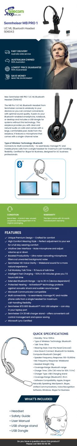 Buy Sennheiser MB PRO 1 UC ML Bluetooth Headset from The Telecom Shop PTY Ltd