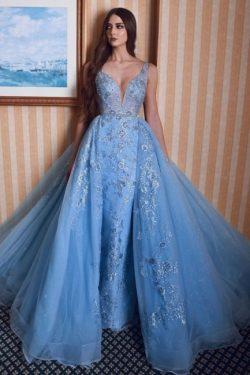 Elegant Abendkleider Lang Glitzer | Abendmoden Blau Mit Spitze