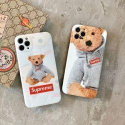 可愛い シュプリーム iPhone12/12 Pro Maxケース テディベア Supreme iphone12pro/12ミニケース