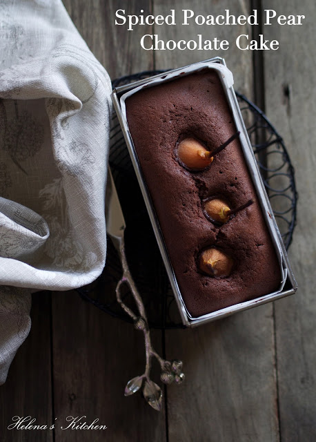 Spiced Poached Pear Chocolate Cake