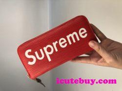 エピレザー シュプリーム 長財布 Supreme 財布 カード収納 小銭入れ SUPREME 赤 黒 メンズ【新品】
