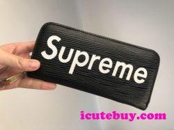 シュプリーム 長財布 Supreme 財布 ウォレット エピレザー カード収納 小銭入れ SUPREME 赤 黒