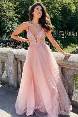 Elegante Abendkleider Lang Rosa | Abendmoden V Ausschnitt