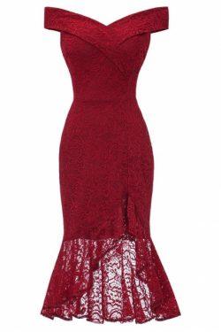 Elegante Spitze Kleider | Rote Abendkleider Kurz