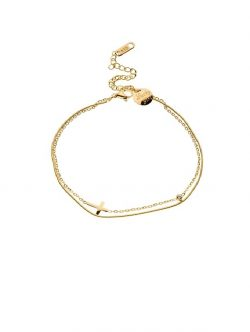 Cross Anklet – 18K Gold Plated by Queen and Collection