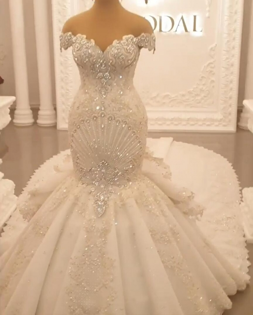 Extravagante Brautkleider Meerjungfrau   Hochzeitskleider Lang Schleppe Mit Spitze