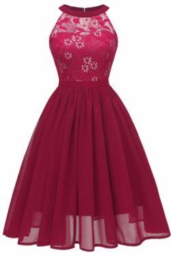 Rotes Kleid mit Spitze | Cocktailkleid Spitze Kurz