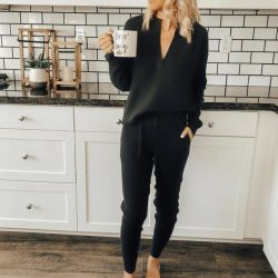 Pyjama Damen Winter | Schlafanzug Damen Schwarz