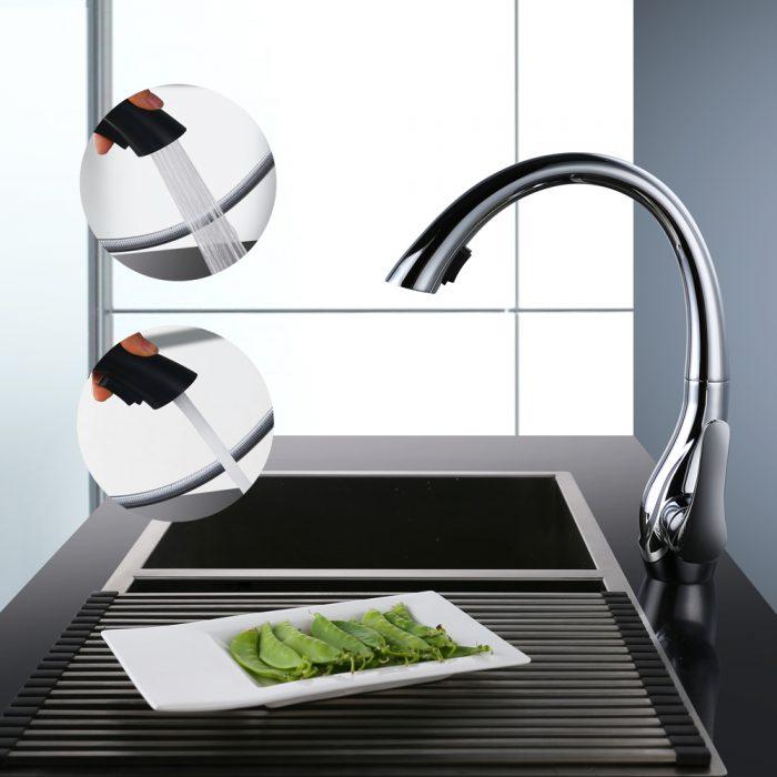Hohe Einhebel Küchenarmatur mit ausziehbarer brause 360 ° drehbarer