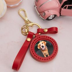 Custom Photo Keychain Leather Personalised Picture Keyring