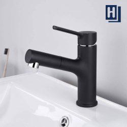 Einhand Schwarz Badarmaturen Ausziehbarer Waschbecken Bad waschtisch armatur Homelody