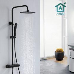 AiHom Thermostat Duschsäule Schwarz Regenduschset mit Regal für Badezimmer