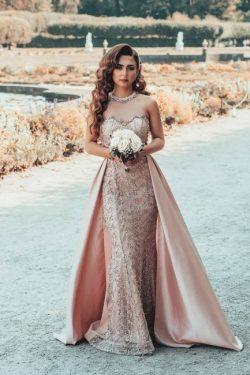 Designer Abendkleid Lang Rosa | Abendkleider Spitze