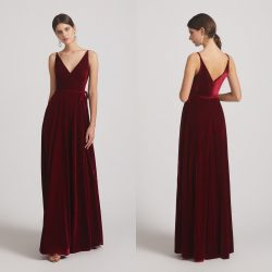 Spaghetti Straps Velvet Wrap Bridesmaid Dresses With Waist Tie