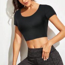 Black Corp Top Short Sleeve Sports Shirts For Women – Nebility
