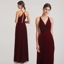 Cowl Neck Open Back Velvet Bridesmaid Dresses