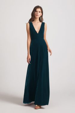 Plunging V Neck Sleeveless Floor Length Bridesmaid Dresses