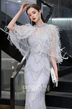 Robe de soirée 2021 lavande sirène ornée de bijoux et franges avec capes plumés